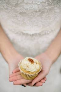 heavenly sweets bride and cupcake close up