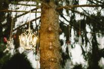 spruce chandlier hanging votives