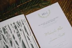 wedding reception programs trees woodsy
