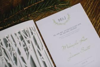 wedding reception programs trees woodsy