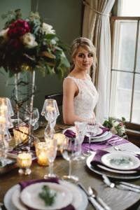 wedding reception table setting bride