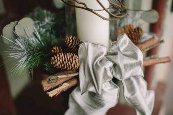 winter bow and pinecone centerpiece