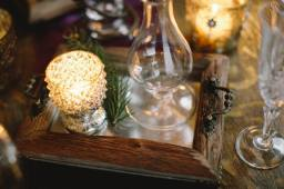 woodsy votive with rustic frame mirror