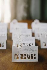 woodsy wedding placecards