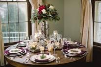 woodsy wedding reception table setting