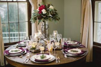 woodsy wedding reception table setting
